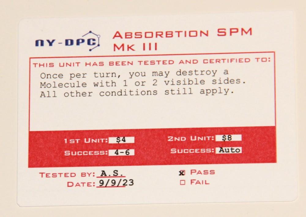 Karta sprzętu laboratoryjnego, który pozwala nam niszczyć elementy patogenu posiadające tylko 1 lub 2 wolne pola w sąsiedztwie.