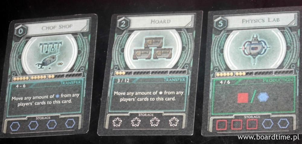 Systemy (wartość w lewym górnym rogu: koszt; małe wartości pod ilustracją to wartości aktywacji - na karcie po lewej od 4 do 6; na samym dole zdolności magazynowe karty)