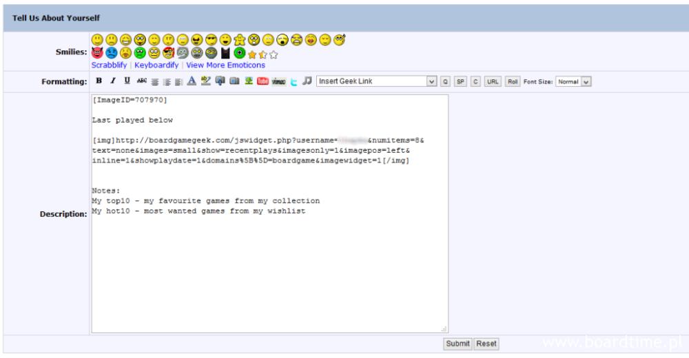 Edycja panelu (widzimy tu wstawiony widget z BGG Code)