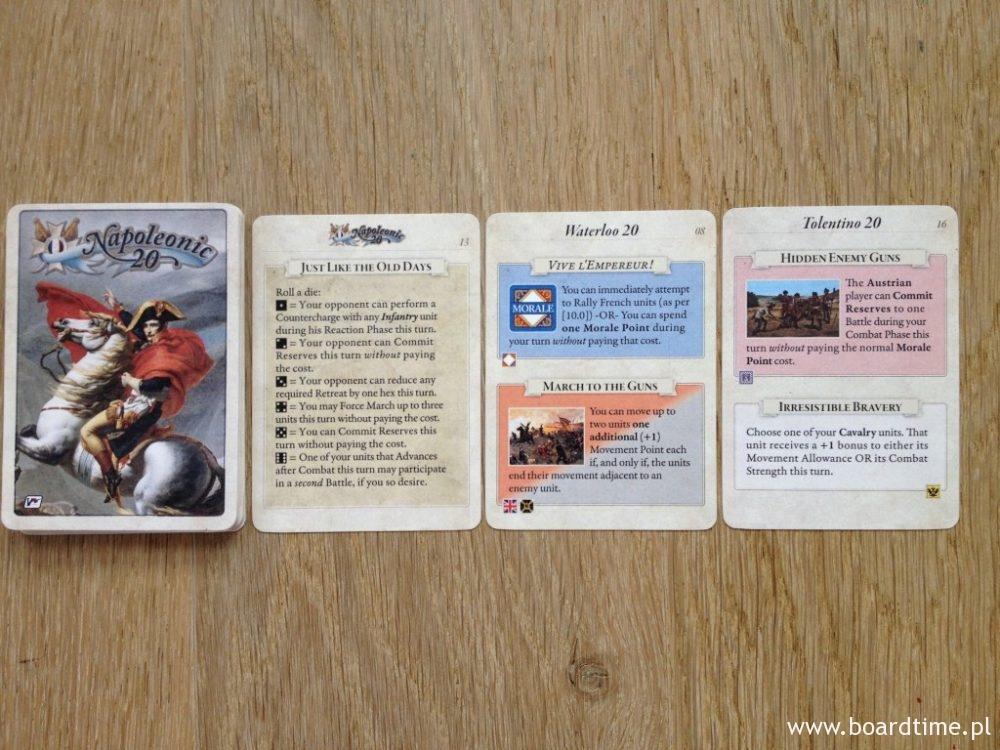 Karty - jeden z ważniejszych elementów serii Napoleonic 20