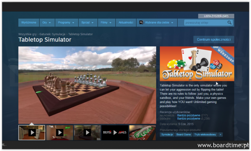 Table Top Simulator w sklepie Steam